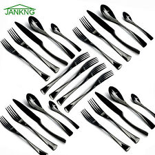 20 Piece & 4PCS Dessert Fork Black 18/10 Stainless Steel Flatware Cutlery Set
