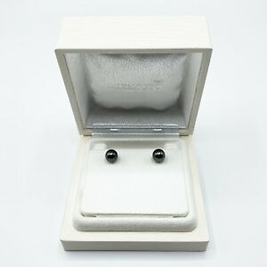 MIKIMOTO 8 mm Black South Sea Pearl with 18K White Gold Stud Earrings NG30