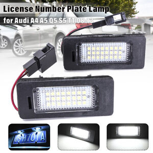 Pair LED License Number Plate Light Lamp Bulb For Audi A4 S4 A5 S5 B8 Q5  TT VW