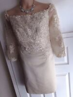 CHAMPAGNE WEDDING GUEST MOTHER OF THE BRIDE GROOM DRESS OCCASION SIZE 20