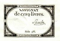 GEM CRISP 1793 FRENCH REVOLUTION 5 POUNDS! DEEP EMBOSSING, FULL MARGINS! CV $125