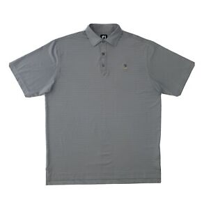 FJ FootJoy Polo Shirt Men's Large Grey Stripe Short Sleeve Golf Button Up