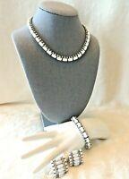 Vtg Kramer White Milk Glass Rhinestone Necklace Bracelet Clip On Earrings Parure