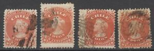 1868-CHILE-5 CENTAVOx4-USED STAMPS