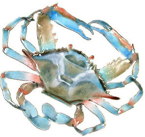 Crab (Blue) Copper/Metal Wall Art Sculpture by Bovano of Cheshire #W189B