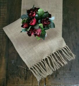 Natural Burlap Table Runner with Tied Fringed Ends - Rustic Farmhouse Style