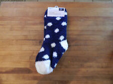 NWT Gap Kids girls cozy socks fuzzy soft, navy and white dots, 1 size fits all