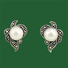 Vintage Inspired Sterling Silver 925 Marcasite Freshwater Pearl Stud Earrings