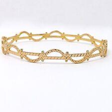 Solid 22k Gold Ornate Scalloped Slip On Bangle Bracelet