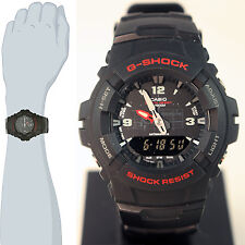 Casio G-100-1BV Men's G-Shock Ana-Digital Watch Dual Time Black Resin Alarm New