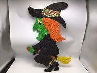 Halloween Witch Flying Melted Plastic Popcorn Decoration Hanging Vintage Holiday