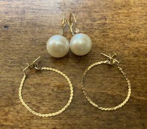 Lot of 14K Gold earrings, Chain & Pearl - 3 grams
