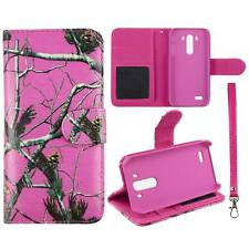 Flip Wallet Camo Pink Pine Rt For LG G3 Pu Leather Cover Case