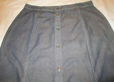 Ladies Long Skirt St Johns Bay Size 14 100 % cotton Khaki Tint Denim 7 Button