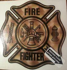 """Fire Dept., Firefighter, Faux Gold, on White Vinyl, 3""""  #FD124"""