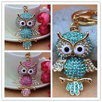New Design Full Rhinestone Owl Crystal Keychain  Purse Bag Key chain Ring YSK64