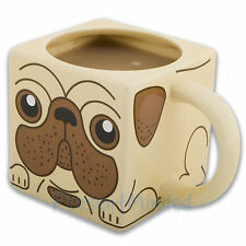 NEW PUG DOG SQUARE CERAMIC MUG NOVELTY COFFEE CUP BOXED GIFT SHAPED PUPPY PET