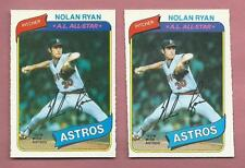 O-PEE-CHEE NOLAN RYAN BASEBALL CARD LOT 1980 OPC 303 RARE FACTORY DIAMOND <> CUT
