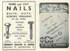 1953 Henry Shaw & Sons Birchall St B'ham Nails Ad