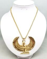 Egyptian Winged Ancient Goddess Necklace Egypt Pendant Statement Gold Chain New