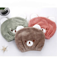 Adult Kids Cartoon Animal Hair Drying Cap Turban Hat Towel Bath Shower Head shan