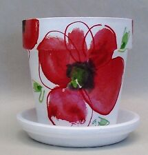 Made To Order,Handmade Decoupage Terra Cotta Clay Pot, Red Poppies, 5 1/4""