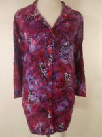 Beautiful Women's 2X 22/24W Catherines Red Paisley 3/4 Sleeve Button Blouse