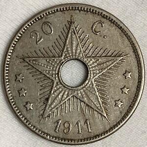 1911 Belgian Congo 20 Centimes Coin (L239)