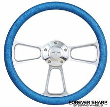 "69-94 GM 14"" Glitter Blue Muscle Steering Wheel w/ Billet Adapter & Chevy Horn"