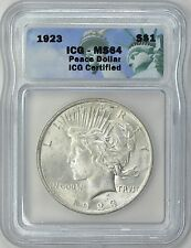 1923 PEACE SILVER DOLLAR S$1 ICG MS64 (your choice)