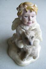 "Vintage Rare Snow Angel with Dog Figurine 3"" Tall 3"" Across The Bottom"
