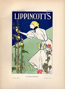 "WILLIAM CARQUEVILLE Affiches Etrangeres 1897 Stone Litho Poster: ""LIPPINCOTT'S"""