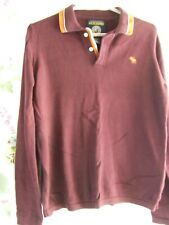 Mens Abercrombie jumper button neck long sleeves burgundy size M