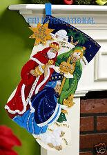 "Bucilla Three Kings ~ 18"" Felt Christmas Stocking Kit #86651 Wise Men, Nativity"
