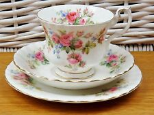 Royal Albert Moss Rose Tea Cups Saucer Plate Trio 1956 Vintage Bone China