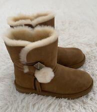 NIB UGG Lillian 2 Pom Pom shearling boots Chestnut Little kid Size 13, Euro 31