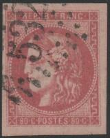 "FRANCE STAMP TIMBRE N° 49 "" CERES BORDEAUX 80c ROSE 1870 "" OBLITERE TTB  J787"