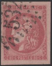 "FRANCE STAMP TIMBRE N° 49 "" CERES BORDEAUX 80c ROSE 1870 "" OBLITERE TTB  J787"