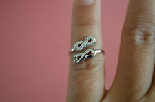 925 Sterling Silver Double Infinity Knots w/ CZ Knuckle Ring Band Jewelry