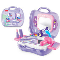 19pcs/set Kids Pretend Play Makeup Vanity Case With Mirror Cosmetic Toy Suitcase