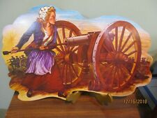 Vtg Beistle Patriotic Colonial Woman & Cannon Die Cut Wall/Window decoration