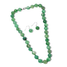 FINE STERLING SILVER GREEN AGATE ROUND BEADED NECKLACE AND EARRING SET GENUINE
