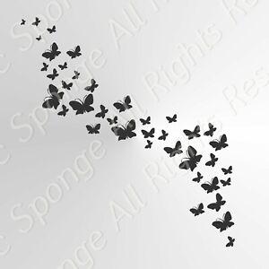 BUTTERFLIES WAVE  Reusable Stencil A3 A4 A5 Romantic Shabby Chic Craft / Bird107