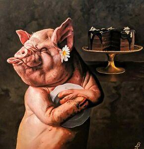 "Original Oil, PIG Painting 46""x 46"" Gorgeous, Hyper Realism, Sweet ""BLISS"" , EU"