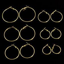 6Pairs/set Silver Gold & Rose Gold Round Hoop Sleeper Earrings 25mm-50mm CN