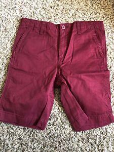 Gap Boys 10 Husky Flat Front Shorts Burgundy NWOT