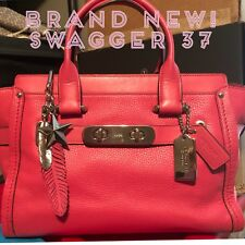 Coach 37493 Dahlia Pink Leather Swagger 27 Satchel  Retail Bag $695