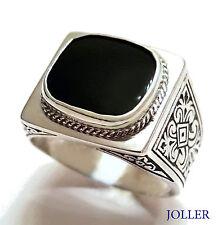 MEN'S VINTAGE SIGNET RING BLACK ONYX RECTANGULAR STERLING SILVER BY JOLLER