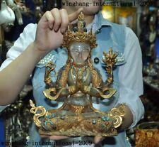 Tibet crystal Bronze 24k gold Gilt Inlay gem 4 Arms Chenrezig tara Buddha statue