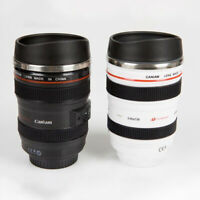 Camera Lens Cup 24-105 Coffee Tea Travel Mug Stainless Steel Thermos Black/White